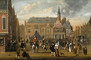 The Grote Markt, Haarlem at the announcement of the Treaty of Munster, 1648