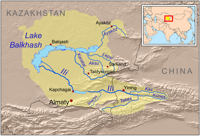 Map of the Lake Balkhash drainage basin