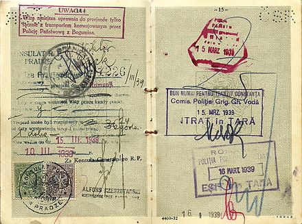 Viktor Pick's 1939 visa used to escape Prague on the last train out on 15 March. Later, he arrived safely in British Palestine. Last train out of Prag on German invasion.jpg