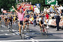Overall winner Laurent Fignon taking victory on stage 20