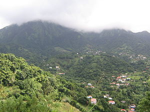Le Morne-Vert - General view of Le Morne-Vert and the Pitons du Carbet