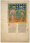 Leaf from a Beatus Manuscript- the Fourth Angel Sounds the Trumpet and an Eagle Cries Woe MET DT304319.jpg