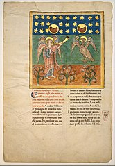 Leaf from a Beatus Manuscript: the Fourth Angel Sounds the Trumpet and an Eagle Cries Woe
