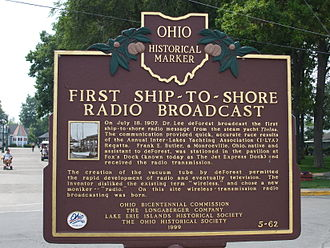 Lee de Forest - Ohio Historical Marker. On July 18, 1907 Lee de Forest transmitted the first ship-to-shore messages that were sent by radiotelephone