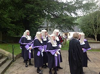 Circuit judge (England and Wales) - Circuit judges in their ceremonial robes in procession at Llandaff Cathedral in 2013