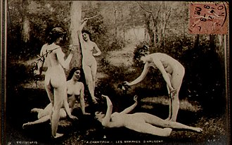 French postcard - Image: Les Nymphes Samusent by Alexandre Jacques Chantron