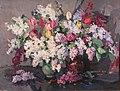 Lilac with tulips.Oil on canvas.1970. 60х80.jpg