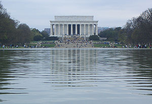 The memorial and the reflecting pool
