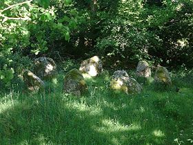 Lisseyviggeen stone circle, County Kerry, Ireland. Also known locally as the Seven Sisters