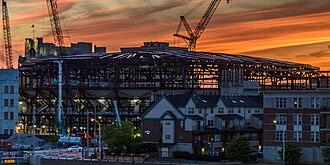 Little Caesars Arena - Construction in progress in June 2016.