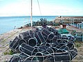 Lobster pots on the north wall of Newcastle Harbour - geograph.org.uk - 1474281.jpg