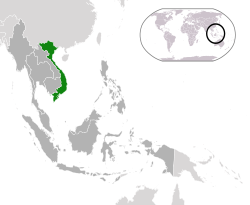 Location of  Vietnam  (green)in ASEAN  (dark grey)  —  [Legend]