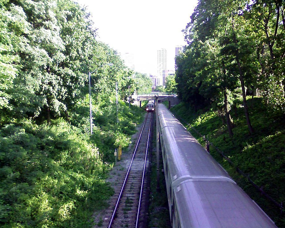 Looking south to Rosedale station
