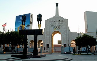 Los Angeles Memorial Coliseum - The Peristyle plaza entrance to the Coliseum, including the two bronze Olympic statues