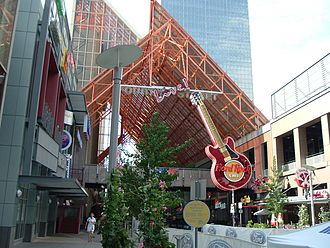 Louisville, Kentucky - Entrance to the Fourth Street Live! entertainment complex in Louisville, featuring the marquee of the Hard Rock Cafe