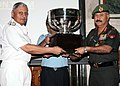 Lt. Gen. V.S. Tonk receiving the Defence Services Overall Championship Trophy on behalf of the Army Red from the Chief of Naval Staff, Admiral Nirmal Verma, during the Combined Commanders Conference-2011, in New Delhi.jpg