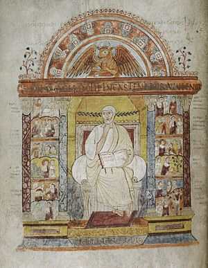 Coelius Sedulius - Illuminated miniature of St Luke beneath the inscription Iura sacerdotii Lucas tenet ore iuuenci from Sedulius' Carmen paschale. St Augustine Gospels, Parker Library MS 286, late 6th century