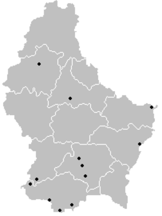2005–06 Luxembourg National Division - Locations of participating teams across Luxembourg.