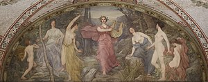 "Simonides of Ceos - Lyric Poetry, painted by Henry Oliver Walker (Thomas Jefferson Building, Washington D.C.). ""Simonides calls painting silent poetry and poetry painting that speaks""—Plutarch."