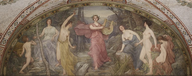 "Lyric Poetry, painted by Henry Oliver Walker (Thomas Jefferson Building, Washington D.C.). ""Simonides calls painting silent poetry and poetry painting that speaks"" -- Plutarch. Lyric-poetry-Walker-Highsmith.jpeg"