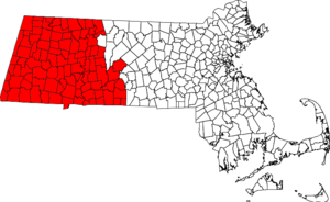 Area code 413 - Map showing the region covered by area code 413