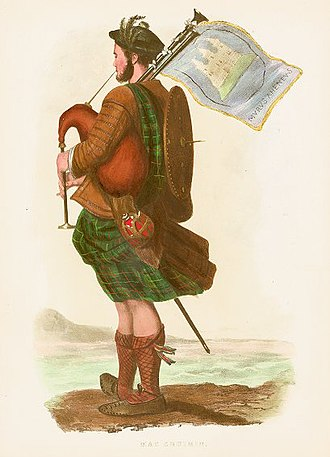 """MacCrimmon (piping family) - """"Mac Cruimin"""" a romanticised Victorian era depiction of a MacCrimmon piper to MacLeod of MacLeod, illustrated by R. R. McIan, from The Clans of the Scottish Highlands, published in 1845."""