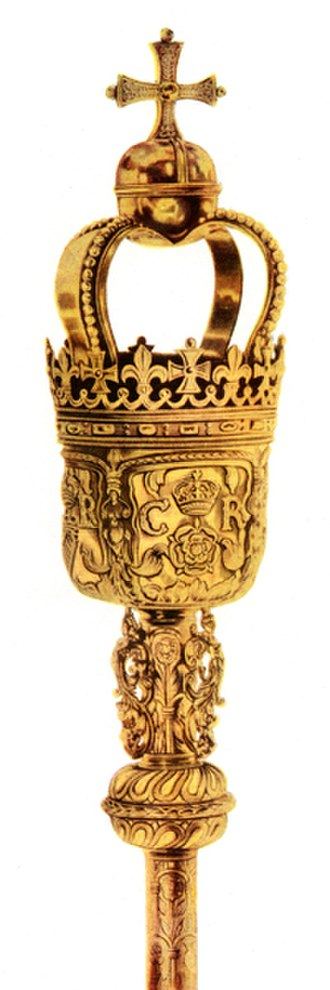 Ceremonial mace - Top of a mace bearing the cypher of Charles II
