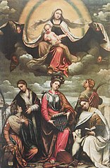 Madonna and child in glory with female saints