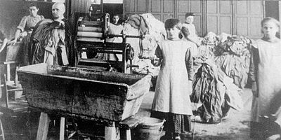 Irish Magdalene Laundry, c. early 1900s. Women who had sexual relations outside marriage were often sent to Magdalene laundries until the mid-20th century Magdalen-asylum.jpg