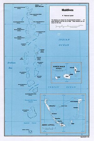 An enlargeable map of the Republic of Maldives