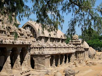 Monolithic architecture - Pancha Rathas monolith rock-cut temple, late 7th century