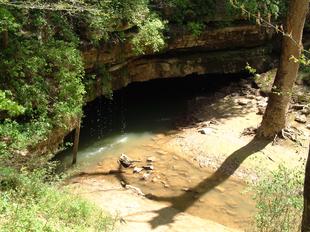 River Styx, uno dei flussi d'acqua sotterranei, emerge all'interno del parco