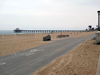 Manhattan Beach, California - Manhattan Beach CA pier and concrete bikepath