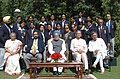 Manmohan Singh with the medal winners of Commonwealth Games held recently at Melbourne, in New Delhi. The Union Minister for Panchayati Raj, Youth Affairs & Sports, Shri Mani Shankar Aiyar, the Lt. Governor of Delhi (1).jpg