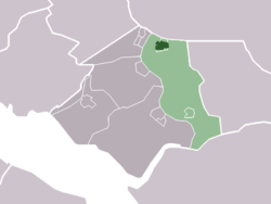 The town centre (darkgreen) and the statistical district (lightgreen) of Geervliet in the former municipality of Bernisse.