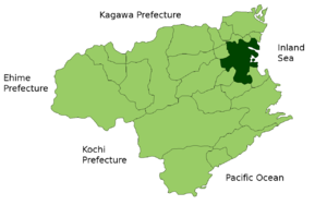 Location of Tokushima in the prefecture