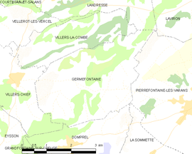 Mapa obce Germéfontaine