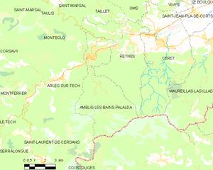 Amélie-les-Bains-Palalda - Map of Amélie-les-Bains-Palalda and its surrounding communes
