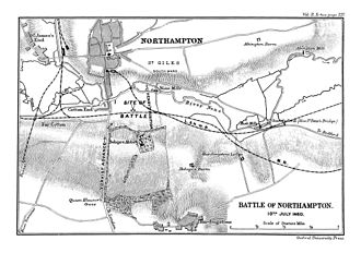 Battle of Northampton (1460) - Ramsey's 1892 map of the Battle of Northampton
