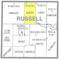 Map highlighting Waldo Township, Russell County, Kansas.png