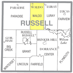Location of Waldo Township in Russell County