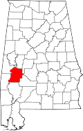 Map of Alabama highlighting Marengo County