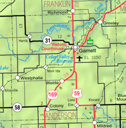 KDOT map of Anderson County (legend)