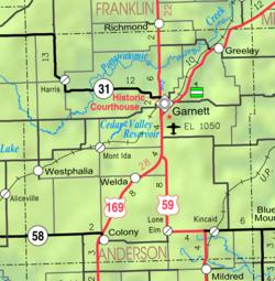 Garnett, Kansas - Wikipedia on olathe kansas map, lawrence kansas map, kansas kansas map, argonia kansas map, pittsburg kansas map, leawood kansas map, liberal kansas map, lecompton kansas map, downs kansas map, cimarron kansas map, kansas city map, lewis kansas map, springfield kansas map, americus kansas map, lyndon kansas map, united states kansas map, ottawa kansas map, burdett kansas map, wellington kansas map, newton kansas map,
