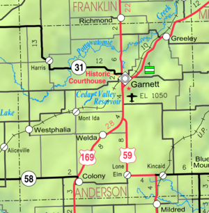 Anderson County, Kansas - Image: Map of Anderson Co, Ks, USA