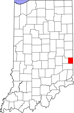 map of Indiana highlighting Union County