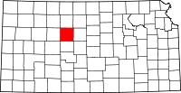 Map of Kansas highlighting Ellis County