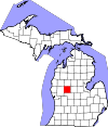 State map highlighting Mecosta County