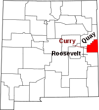 Map of New Mexico highlighting Curry County