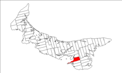Map of Prince Edward Island highlighting Lot 57